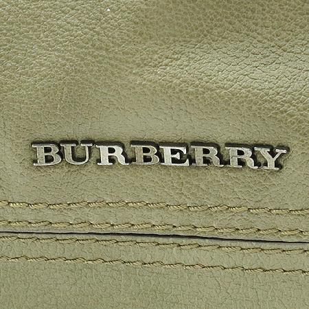 Burberry(버버리) 빈티지 카키 레더 은장 로고 체인 장식 숄더백