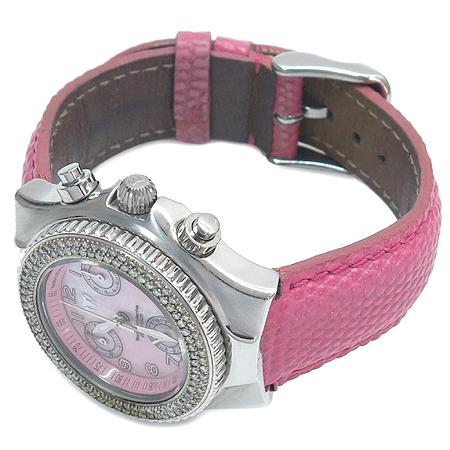 TechnoMarine(테크노마린) 베젤 다이아 핑크 자개 다이얼 크로노그래프 여성용 시계 [부산센텀본점] 이미지2 - 고이비토 중고명품