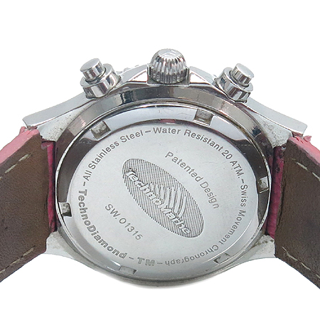 TechnoMarine 베젤 다이아 핑크 자개 다이얼 크로노그래프 여성용 시계 [부산본점]