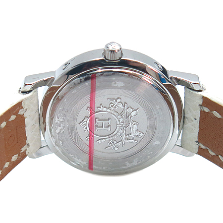 Hermes(에르메스) CL4. 230 클리퍼스 자개판 12포인트 다이아 여성용 가죽 밴드 시계