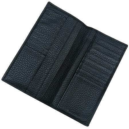 Zegna(제냐) 은장 이니셜 장식 블랙 레더 장지갑