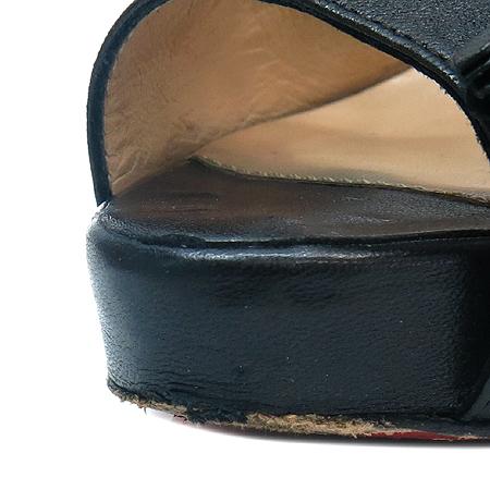 Christian Louboutin (크리스찬 루부탱) 블랙 레더 가보시 하이힐 여성용 샌들