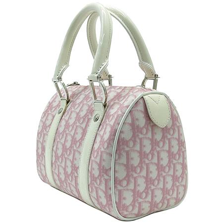 Dior(크리스챤디올) 로고 PVC 핑크 화이트 애나멜 혼방 미니 보스톤 토트백