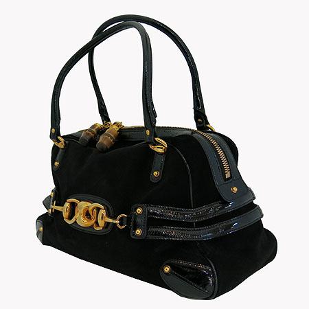 Gucci(구찌) 159398 GG 금장 로고 장식 블랙 페이던트 스웨이드  토트백 이미지2 - 고이비토 중고명품