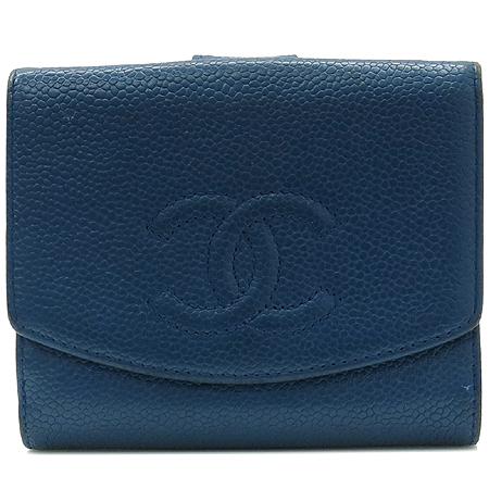 Chanel(샤넬) 캐비어스킨 블루 로고스티치 2단 반지갑