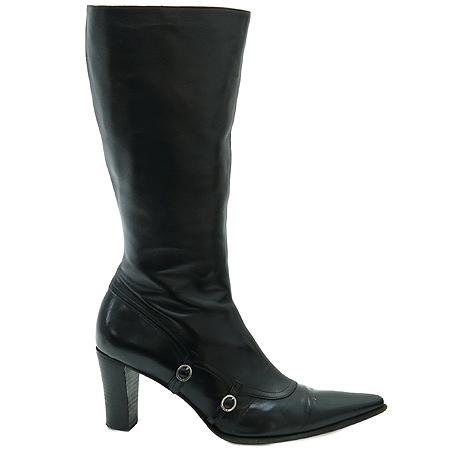 FURLA(훌라) 블랙 레더 은장 버클 장식 여성용 부츠