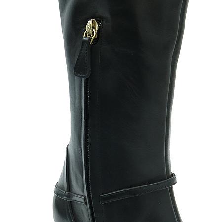 Versace(베르사체) 블랙 레더 은장 버클 장식 여성용 롱부츠