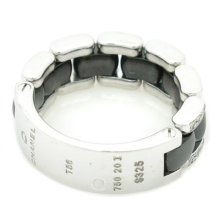 Chanel(샤넬) J2636 18K 화이트 골드 블랙 세라믹 콤비 다이아 반지 - 16호