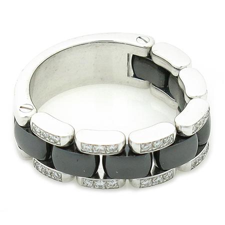 Chanel(샤넬) J2636 18K 화이트 골드 블랙 세라믹 콤비 다이아 반지 - 16호 이미지2 - 고이비토 중고명품
