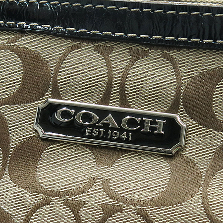 Coach(코치) F16566 시그네쳐 블랙 애나멜 혼방 토트백