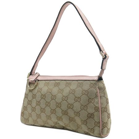 Gucci(구찌) 145750 GG 로고 핑크 레더 트리밍 파우치 숄더백 이미지2 - 고이비토 중고명품