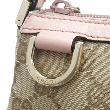Gucci(구찌) 145750 GG 로고 핑크 레더 트리밍 파우치 숄더백 이미지4 - 고이비토 중고명품