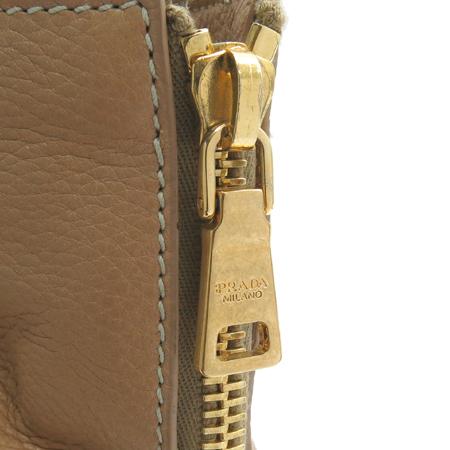 Prada(프라다) BR4372 디어스킨 카멜 측면 투 짚업 금장로고 숄더백
