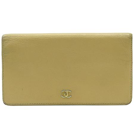 Chanel(샤넬) 금장 로고 베이지 레더 장지갑