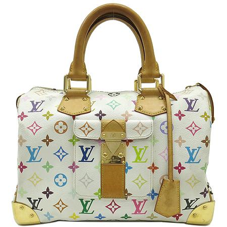 Louis Vuitton(루이비통) M92643 모노그램 멀티 컬러 화이트 스피디 30 토트백 [강남본점]