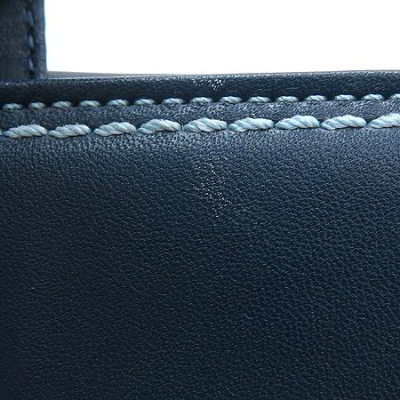Coach(코치) 은장 로고 장식 블루 레더 장지갑