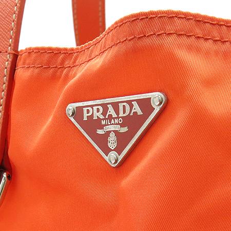 Prada(프라다) 삼각 플레이트 키홀더 장식 패브릭 쇼퍼 토트백