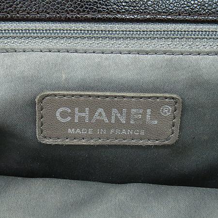 Chanel(샤넬) 캐비어스킨 다크브라운 원 포켓 짚업 은장로고 체인 숄더백