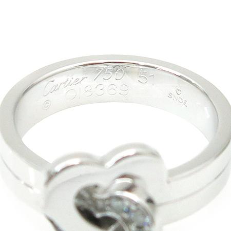 Cartier(까르띠에) B4064100 18K 화이트골드 C 하트링 다이아 반지-11호