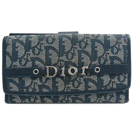 Dior(크리스챤디올) 은장 로고 장식 자가드 장지갑