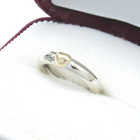 Tiffany(티파니) 18K(750) 화이트 골드 + 옐로우 골드 콤비 하트 장식 반지 - 9호