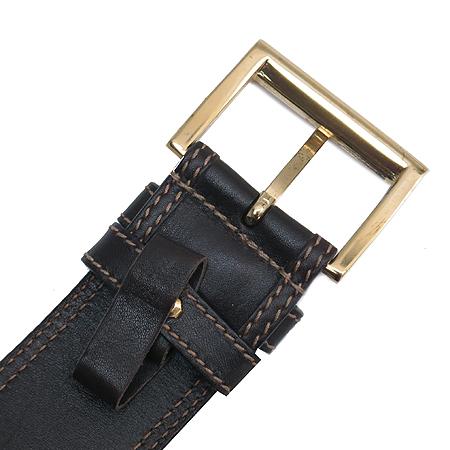 Prada(프라다) 금장 버클 이니셜 패브릭 레더 스티치 여성용 벨트
