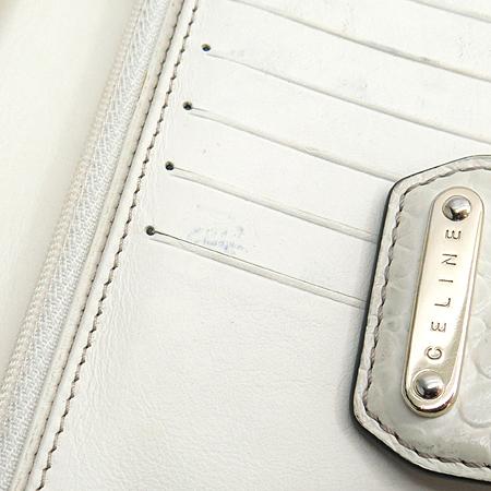 Celine(셀린느) 블라종 자가드 화이트 크로커다일 패턴 트리밍 장지갑
