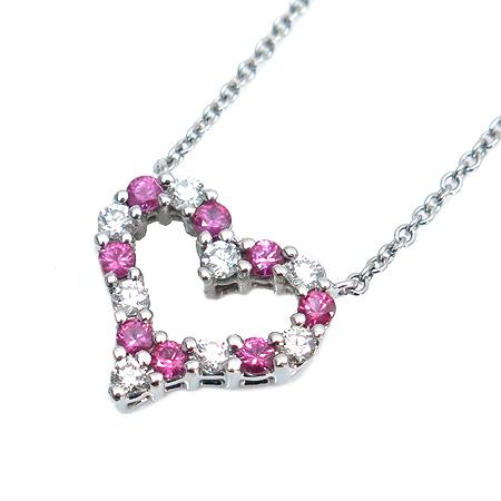 Tiffany(티파니) PT950 (플래티늄) 하트 팬던트 8포인트 다이아 + 핑크 사파이어 목걸이
