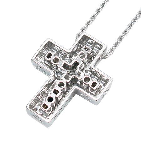 DAMIANI(다미아니) 18K 화이트 골드 벨에포크 라인 다이아 십자가 여성용 목걸이