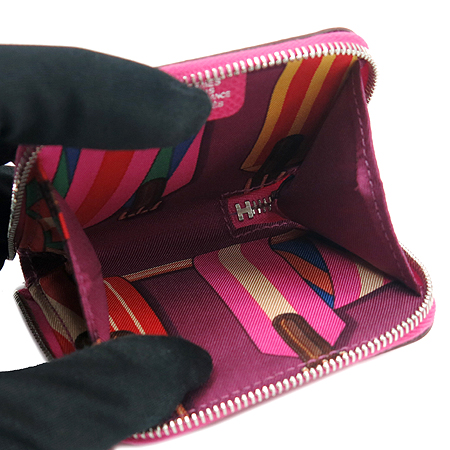 Hermes(에르메스) 핑크 실크혼방 아잡(AZAP) 짚업 동전지갑 [강남본점] 이미지3 - 고이비토 중고명품
