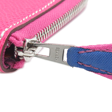 Hermes(에르메스) 핑크 실크혼방 아잡(AZAP) 짚업 동전지갑