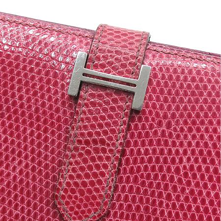 Hermes(에르메스) 은장 로고 도마뱀 가죽 베안 장지갑