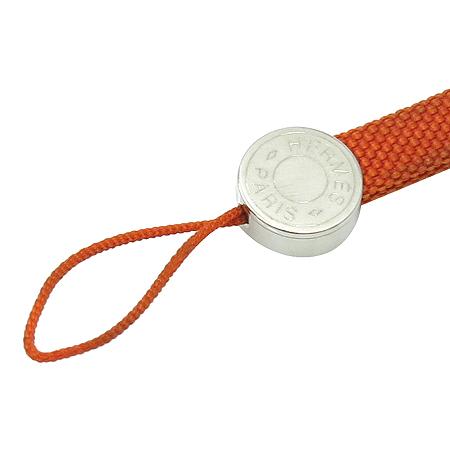 Hermes(에르메스) 오렌지 패브릭 은장 라운드로고 목걸이 핸드폰 줄