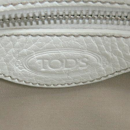 Tod's(토즈) 은장 로고 장식 화이트 레더 토트백