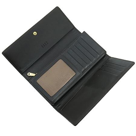DAKS(닥스) 체크 패턴 브라운 레더 트리밍 3단 장지갑