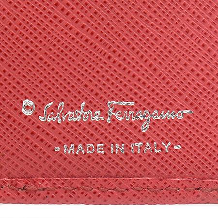 Ferragamo(페라가모) 22 7111 핑크 사피아노 레더 은장 구두 간치니 장식 카드 지갑