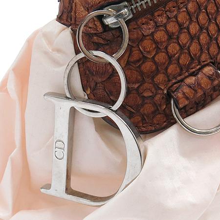Dior(크리스챤디올) 09 BM 0014 은장 로고 장식 리본 패브릭 파이손 숄더백