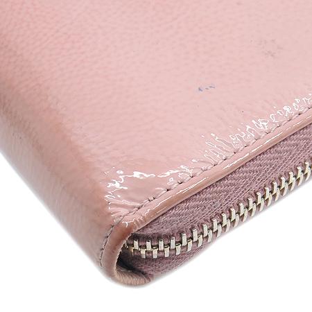 YSL(입생로랑) 177555 핑크 페이던트 로고 스티치 지피월릿 장지갑