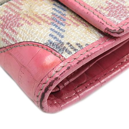 DAKS(닥스) 로고 장식 크로커다일 문양 스티치 체크 PVC 반지갑