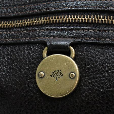 MULBERRY(멀버리) 금장 로고 장식 다크 브라운 레더 토트백 + 크로스 스트랩