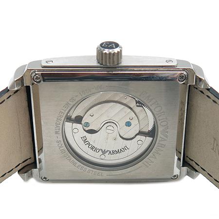 Armani(아르마니) AR4201 사각 메탈 오토매틱 스켈레톤 가죽 밴드 남성용 시계