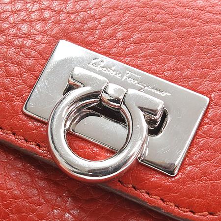 Ferragamo(페라가모) 22 A596 오렌지 레더 은장 간치니로고 2단 반지갑