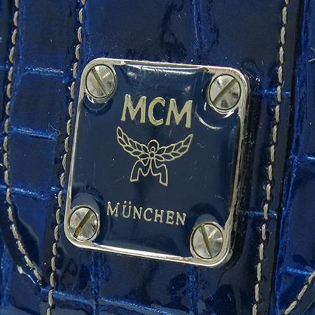 MCM(엠씨엠) 1032090020407 블루 크로커다일 패턴 페이던트 중지갑