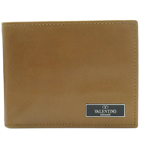 VALENTINO(발렌티노) 은장 로고 장식 브라운 레더 남성용 반지갑
