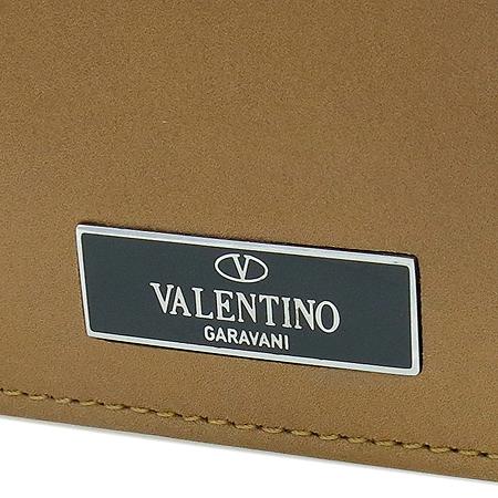 VALENTINO(발렌티노) 은장 로고 장식 브라운 레더 남성용 반지갑 이미지2 - 고이비토 중고명품