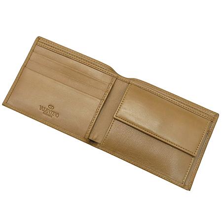 VALENTINO(발렌티노) 은장 로고 장식 브라운 레더 남성용 반지갑 이미지3 - 고이비토 중고명품