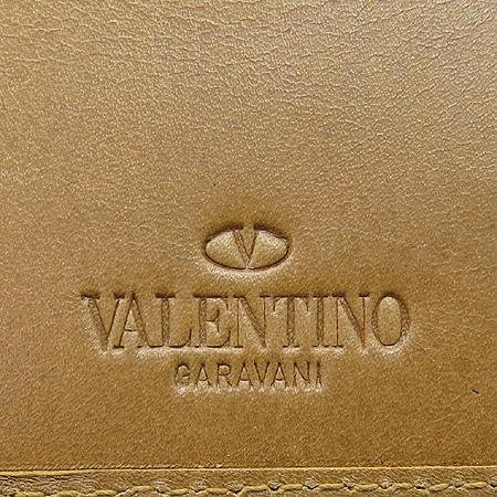 VALENTINO(발렌티노) 은장 로고 장식 브라운 레더 남성용 반지갑 이미지4 - 고이비토 중고명품