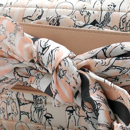 Chanel(샤넬) 미니 프린트 핑크 실크퀼팅 금장체인 스카프 숄더백