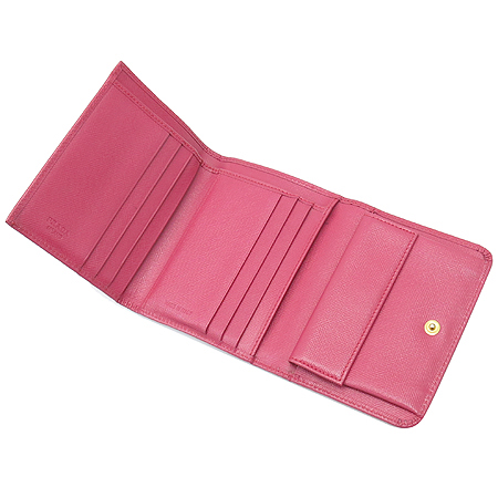 Prada(프라다) 1M0176 금장 로고 사피아노 3단 반지갑