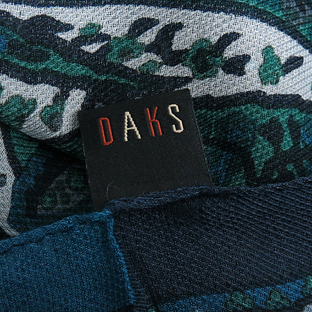 DAKS(닥스) 실크45% 모55% 네이비 그린 페이즐리 장식 스카프